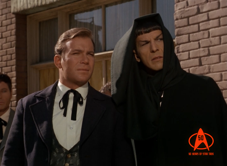 "Kirk and Spock wear nifty outfits in order to contemplate the concept of the Prime Directive, which was first introduced in the episode ""Return of the Archons."""