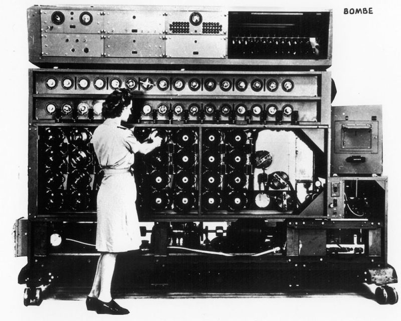 The US Navy Bombe used during World War II to break Germany's Enigma encryption system.