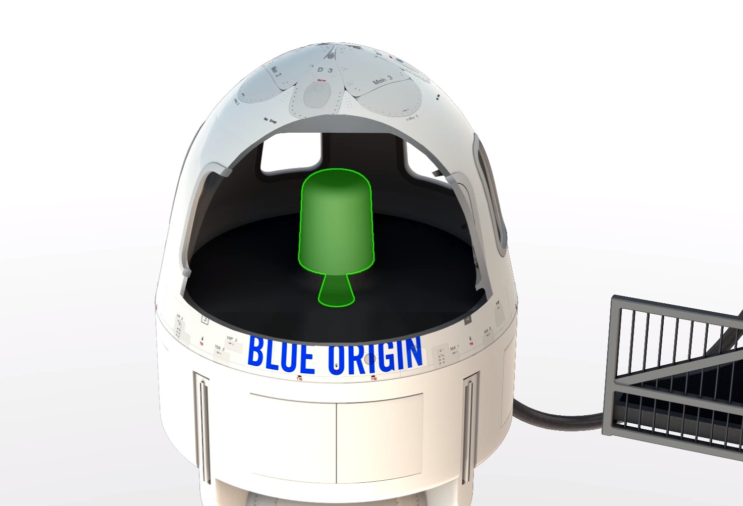 The escape motor will be mounted in the center of, and beneath, the New Shepard capsule.