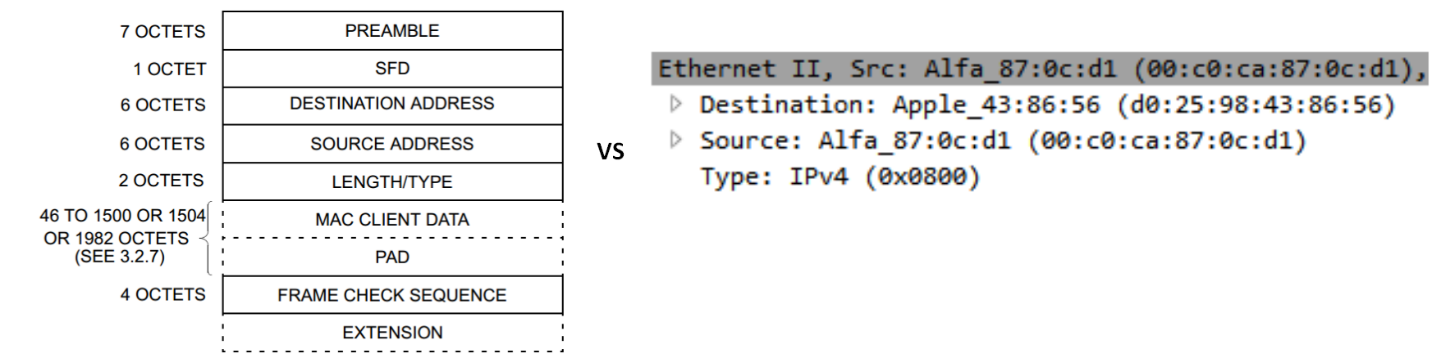 Figure 3-1 from Section 1, Part 3.1.1 of the IEEE 802.3 specification beside a Wireshark dissection.