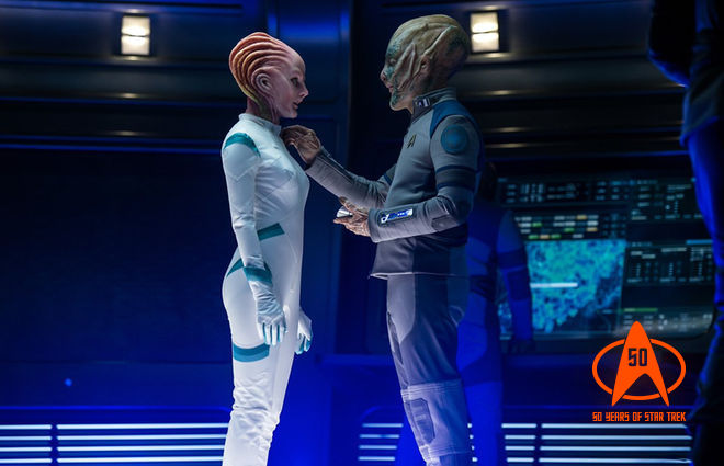 Jeff Bezos (right) in his cameo as an alien in <em>Star Trek: Beyond</em>.