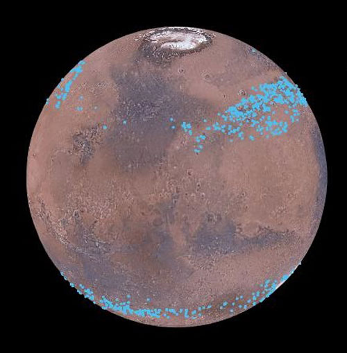 Blue marks the location of Mars' mid-latitude glaciers.