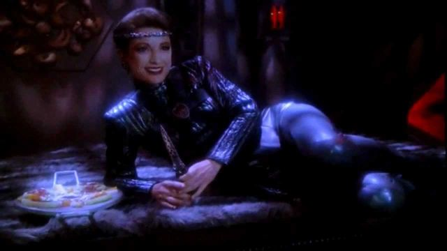 I couldn't resist including this great shot of mirror universe Kira. Not pictured (sadly): bisexual orgy companions feeding her grapes.