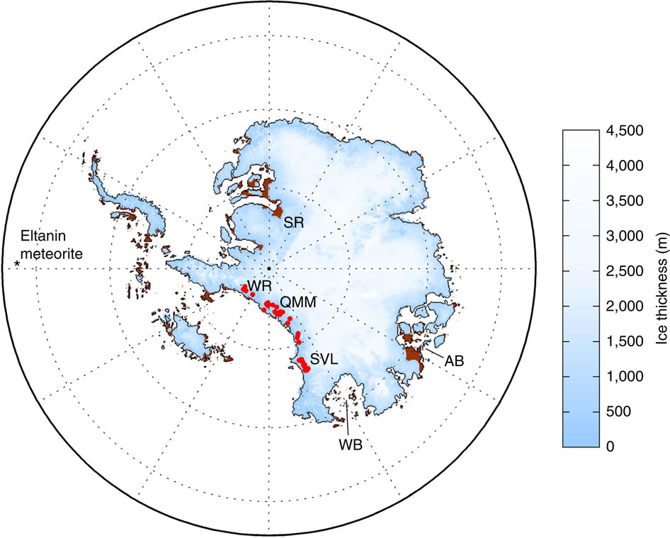 The outline of a simulated Antarctic ice sheet shrunken by Pliocene warmth. Brown areas have rebounded above sea level several thousand years after the ice disappeared. Bright red dots mark locations in the Transantarctic Mountains where marine diatom shells have been found.