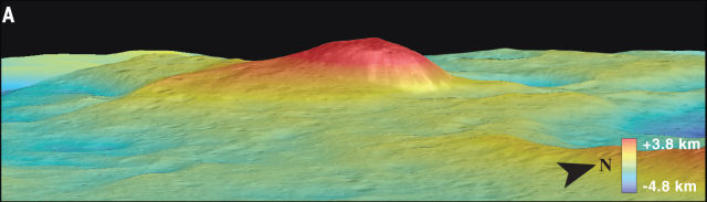 A profile view of Ahuna Mons.