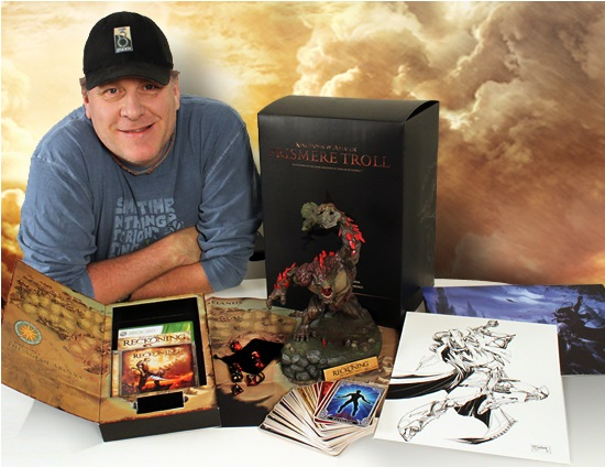 Schilling poses with the Collector's Edition of 38 Studios' sole release, <i>Kingdoms of Amalur</i>.