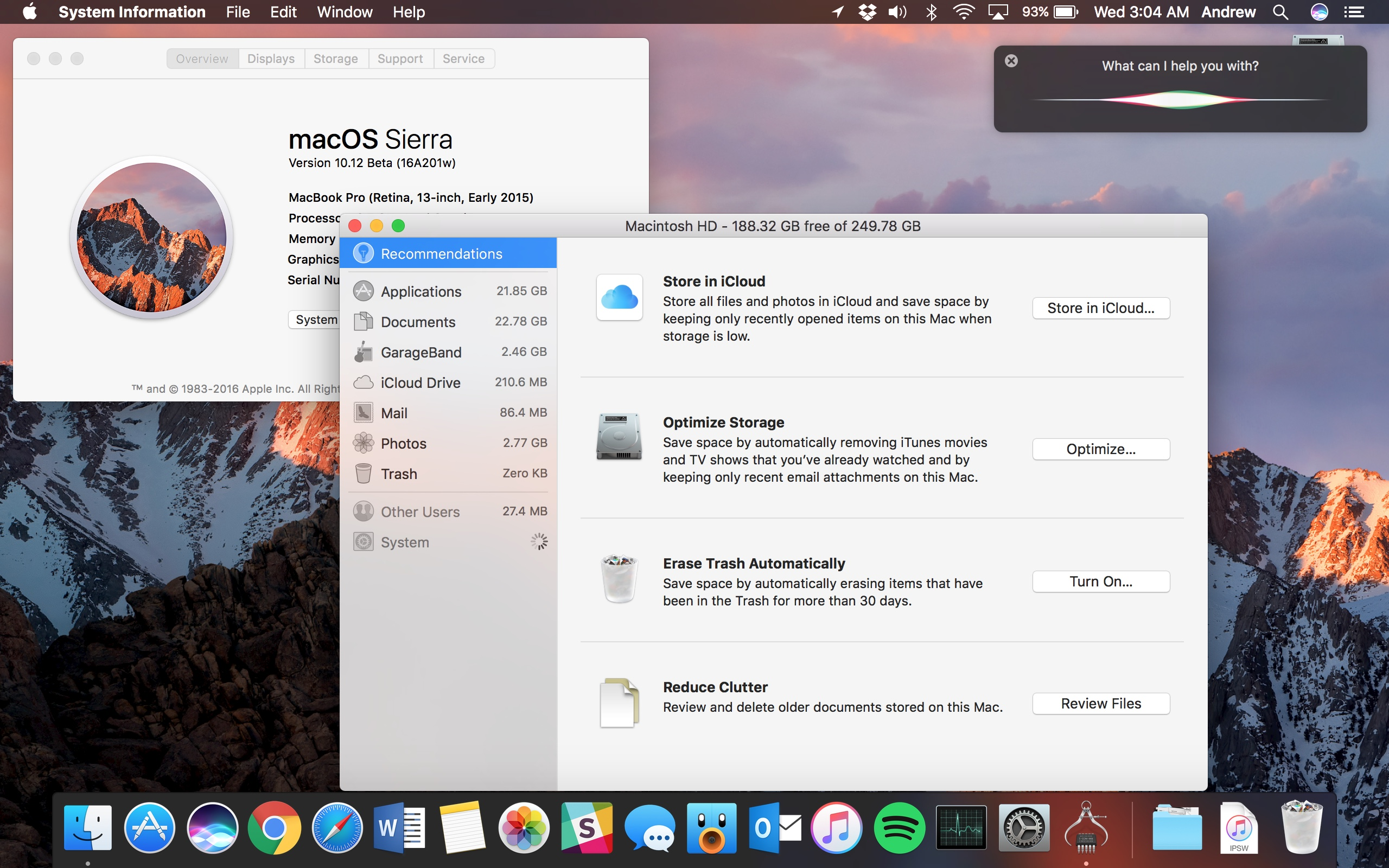 macOS Sierra's first beta. The software is nearing the end of its beta cycle.