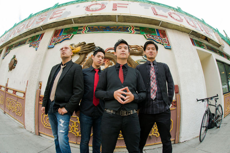 Portrait of Asian-American band The Slants (L-R: Joe X Jiang, Ken Shima, Tyler Chen, Simon 'Young' Tam) in Old Town Chinatown, Portland, Oregon, in 2015.