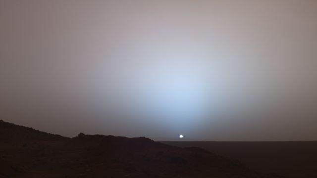 Sunset over Gusev Crater, Aeolis Quadrangle, Mars.