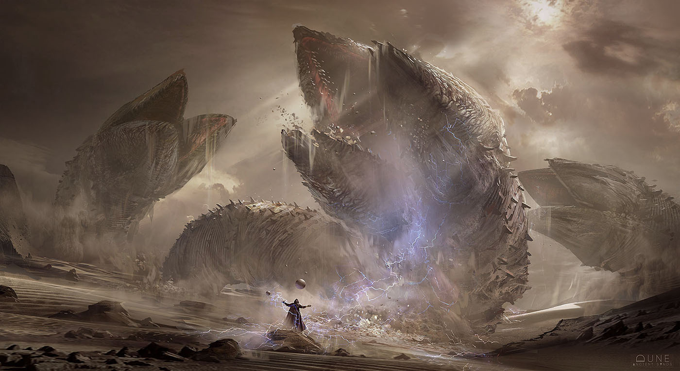 The sandworms show their magnificence to a puny human on Arrakis.
