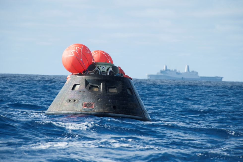 NASA's Orion spacecraft awaits the US Navy's USS Anchorage for a ride home on December 5, 2014.