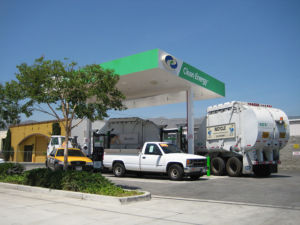 A crowded compressed natural gas station.