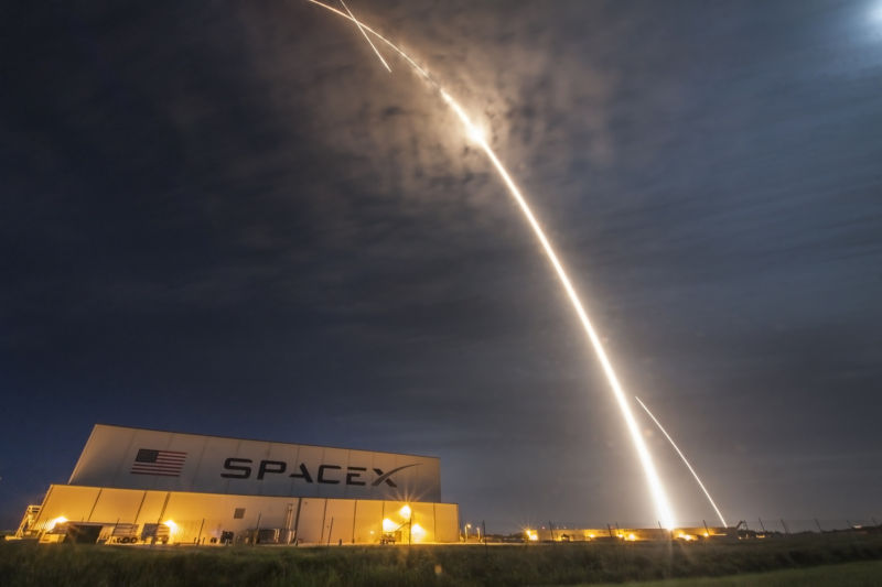 The launch and landing of a SpaceX rocket on July 18, 2016.