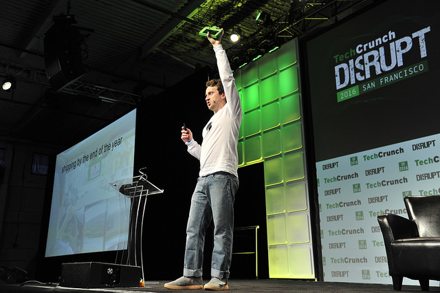 """CEO of Comma.ai George """"Geohot"""" Hotz speaks onstage during TechCrunch Disrupt SF 2016 at Pier 48 on September 13, 2016 in San Francisco, California. (Photo by Steve Jennings/Getty Images for TechCrunch)"""