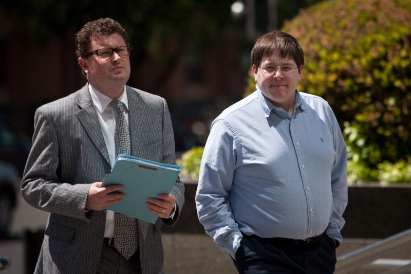 Former Reuters social media editor Matthew Keys (R), seen here with his lawyer Jay Leiderman at the federal courthouse in Sacramento in 2013.