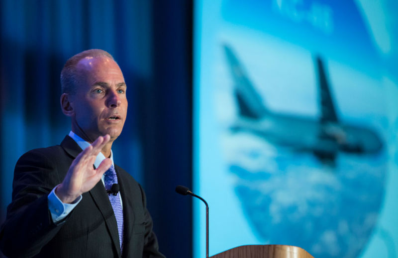 Boeing CEO Dennis Muilenburg gives a keynote speech during the SAE Aerotech Congress on September 22, 2015 in Seattle, Washington.