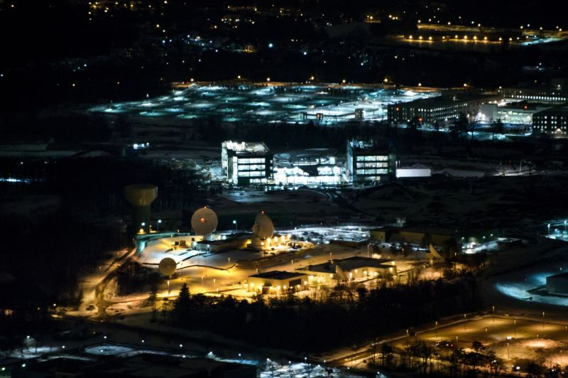 A helicopter view of the National Security Agency.