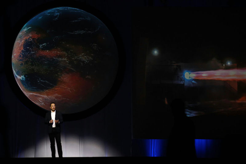 Elon Musk speaks during the 67th International Astronautical Congress in Guadalajara, Mexico, on Tuesday, Sept. 27.