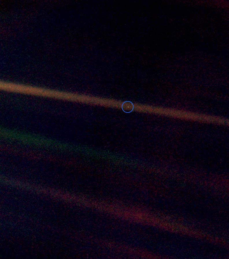 Voyager's pale blue dot image.