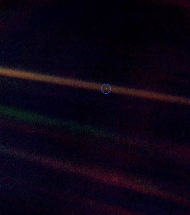 Voyager's pale blue dot image.