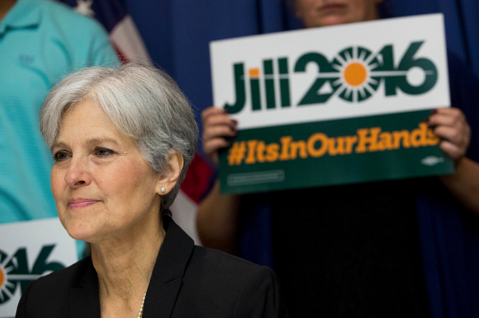 Jill Stein is so intent on addressing climate change and renewable energy, her logo has a sun bursting out of it.