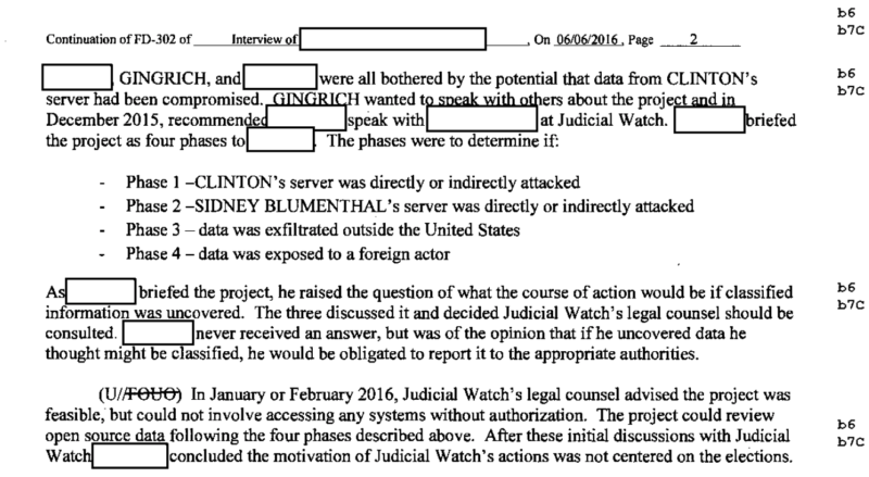 Excerpt of an FBI interview report detailing a Judicial Watch deal with a defense contractor to search for hacked Clinton files.