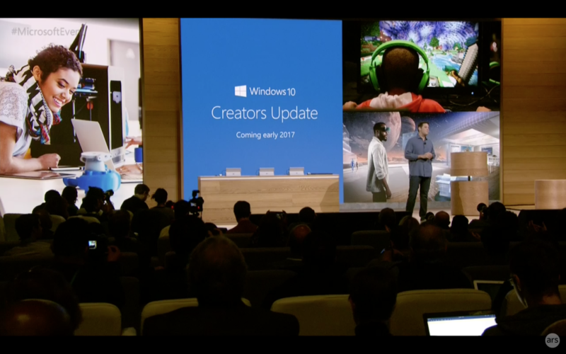 The announcement of the Creators Update in October 2016.