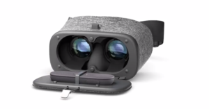 Daydream View's controller tucks into the headset as shown here. Pretty slick, Google.