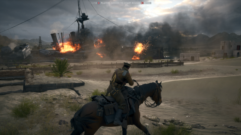 Ridin' dirty on a horse. (That explosive tanker in the distance is always blowing up as field decoration, as opposed to being caused by multiplayer battlers.)