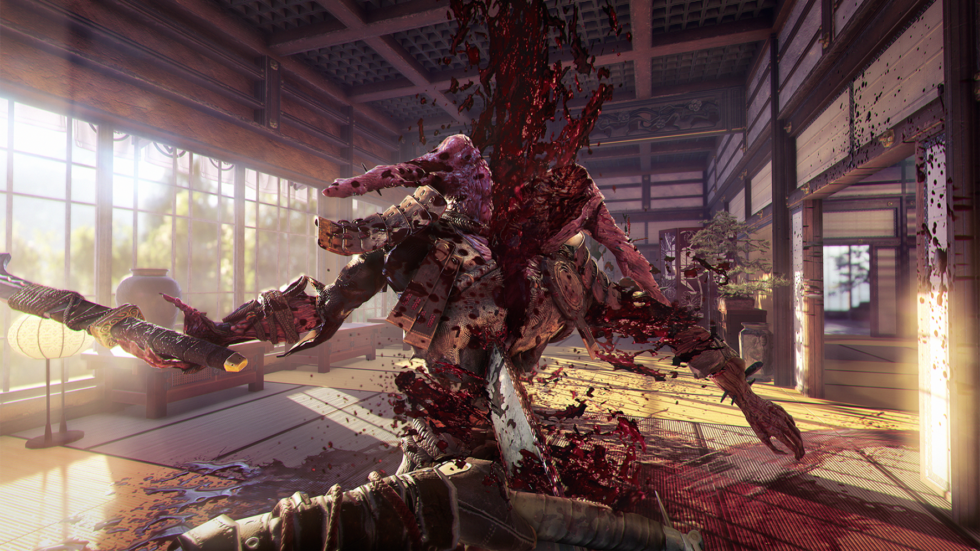This image, provided by publisher Devolver Digital, is a slightly sweetened shot of in-game action, but it pretty well represents the kind of chainsaw fun you'll have in <em>Shadow Warrior 2</em>.
