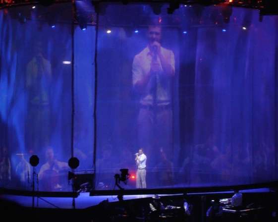 "Darrell Metcalf alleged that Justin Timberlake's FutureSex/LoveShow Tour, pictured here in Exhibit B, infringed on his patent for ""large-audience displays."""