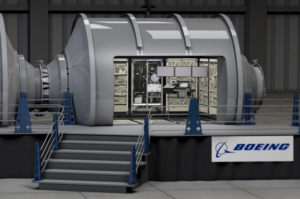 Boeing concept art for what the inside of its modular station might look like.