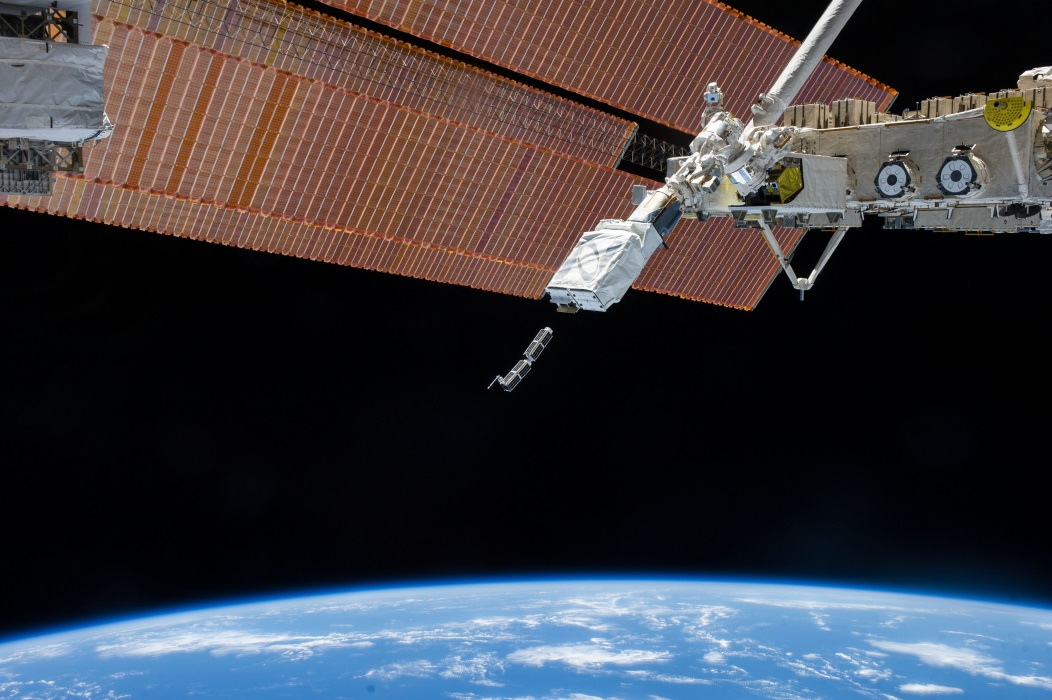 Cubsats launch from the NanoRacks CubeSat Deployer on the International Space Station.