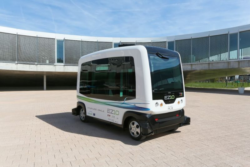Two of these EasyMile driverless people movers will be allowed to drive on public roads in a privately owned business park in Contra Costa, California.