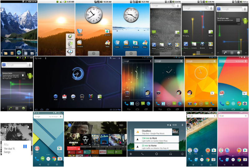 Android's home screen over the years, from all sorts of different form factors.