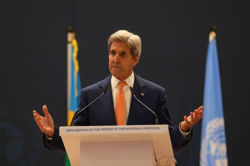 US Secretary of State John Kerry speaks in Kigali, Rwanda.