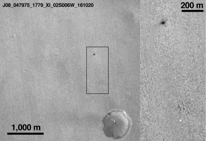 NASA's Mars Reconnaissance Orbiter has found the apparent crash site of the Schiaparelli lander.