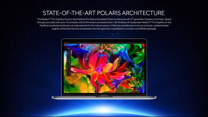 AMD reveals Radeon Pro 400 series GPU specs, as used in new MacBook Pro