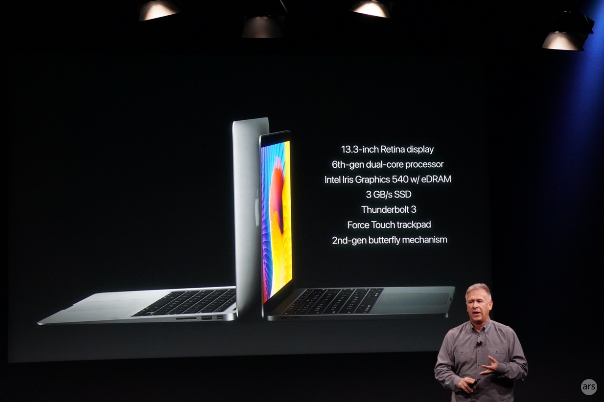 Apple Senior VP Phil Schiller comparing the MacBook Air to the new lower-end MacBook Pro.