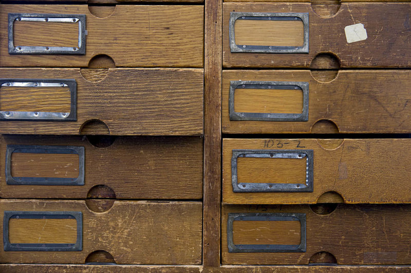 A shoe drawer cabinet inside the US Patent and Trademark Office.