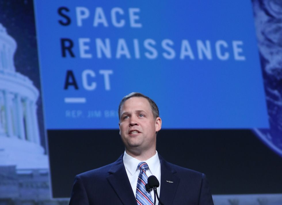 Bridenstine speaks at the Space Symposium's Space Foundation meeting in April, 2016.