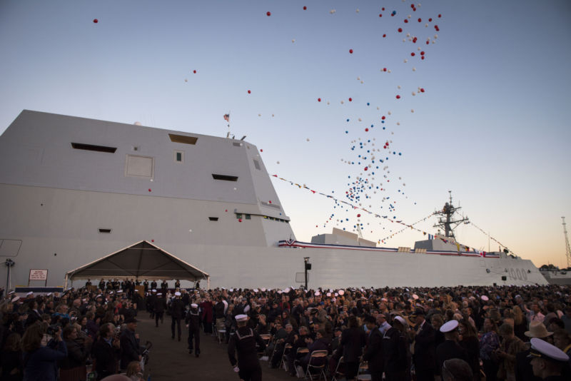 The <i>USS Zumwalt</i> (DDG-1000), commissioned in Baltimore in October. Its two AGS guns depend on projectiles too expensive to pass a Navy gut-check.