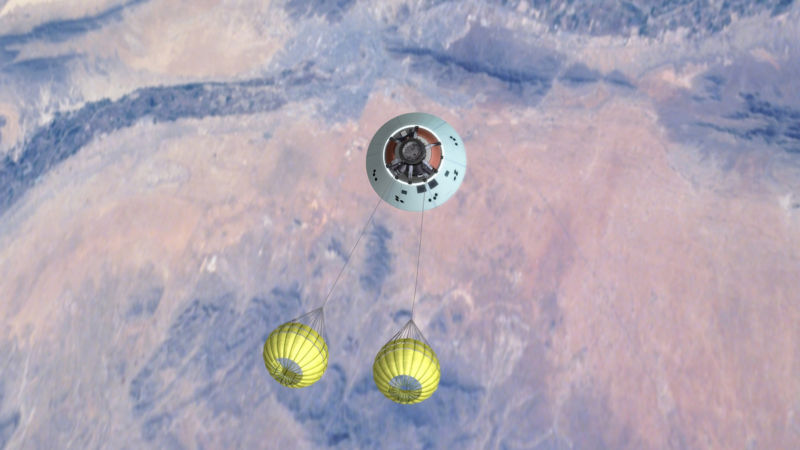 This image shows an Orion parachute test.