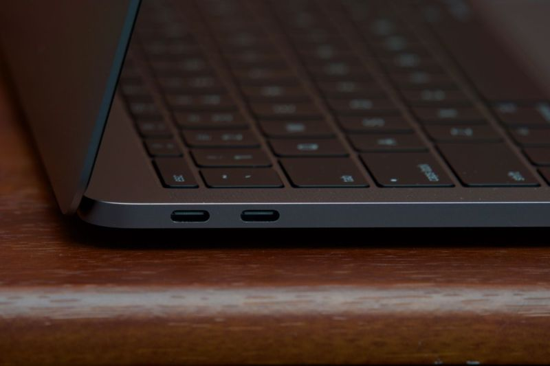 The 13-inch MacBook Pro's two Thunderbolt 3 ports.