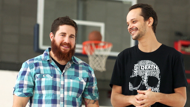 Colin Zestcott (left) and Uri Lifshin conducted two studies showing that athletes are subconsciously motivated by reminders of death. The skull shirt worn by Lifshin served as one of those reminders.