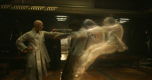 The Ancient One boots Strange's astral body out of his physical body.