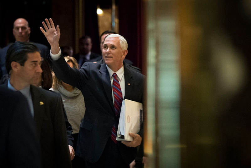 Vice President-elect Mike Pence arrives at Trump Tower on November 15, 2016. He will likely have the final say on Trump's space policy decisions.