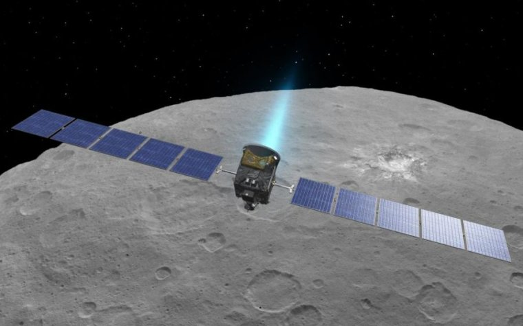 An artist's concept of the Dawn spacecraft at Ceres.
