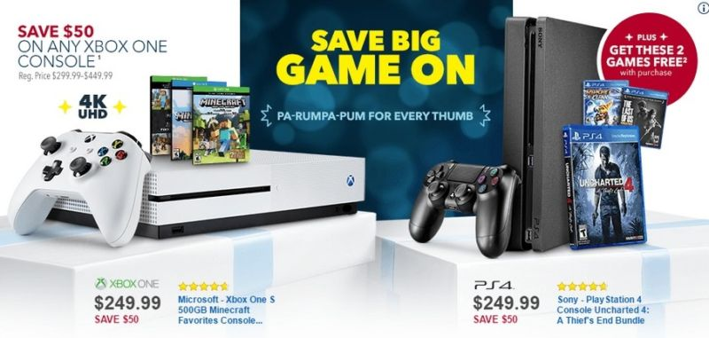 You're not gonna do better than a PS4 Slim with three games for $250 at Best Buy (the Xbox One deal shown above is available elsewhere, though)