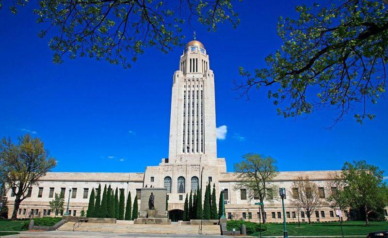 The Nebraska state capitol building in Lincoln.